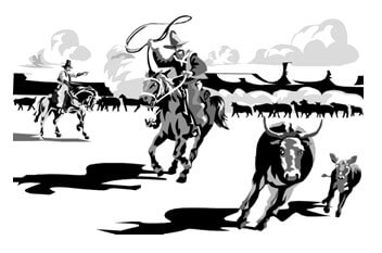 Illustration of two cowboys on horses. On cowboy is about to lasso a cow